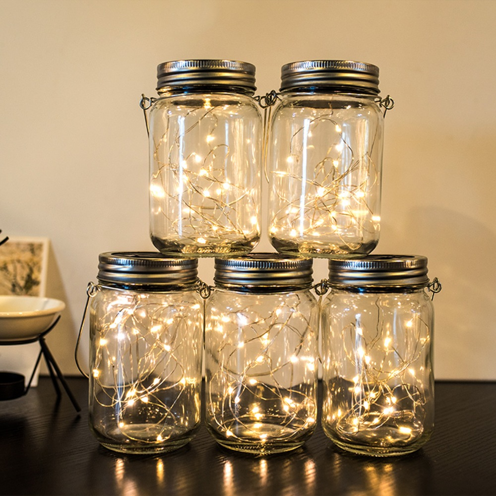 20LED Fairy Light Solar For Mason Jar Lid Insert Color Changing Garden Decor Hot Sale Christmas Lights Outdoor Wedding Decor