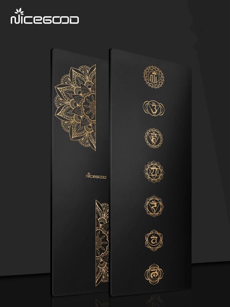 Black Gold PU Yoga Mat 185*68cm*5mm Natural Rubber Extended Thicken Workout Mat High Density Home Use Gym Fintess Euipment