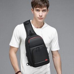 Image 5 - Dienqi黒胸バッグ男性のためのpvc防水スリングバッグミニ旅行スクールクロスボディバッグマルチポケットジップ個人ポケットバッグ