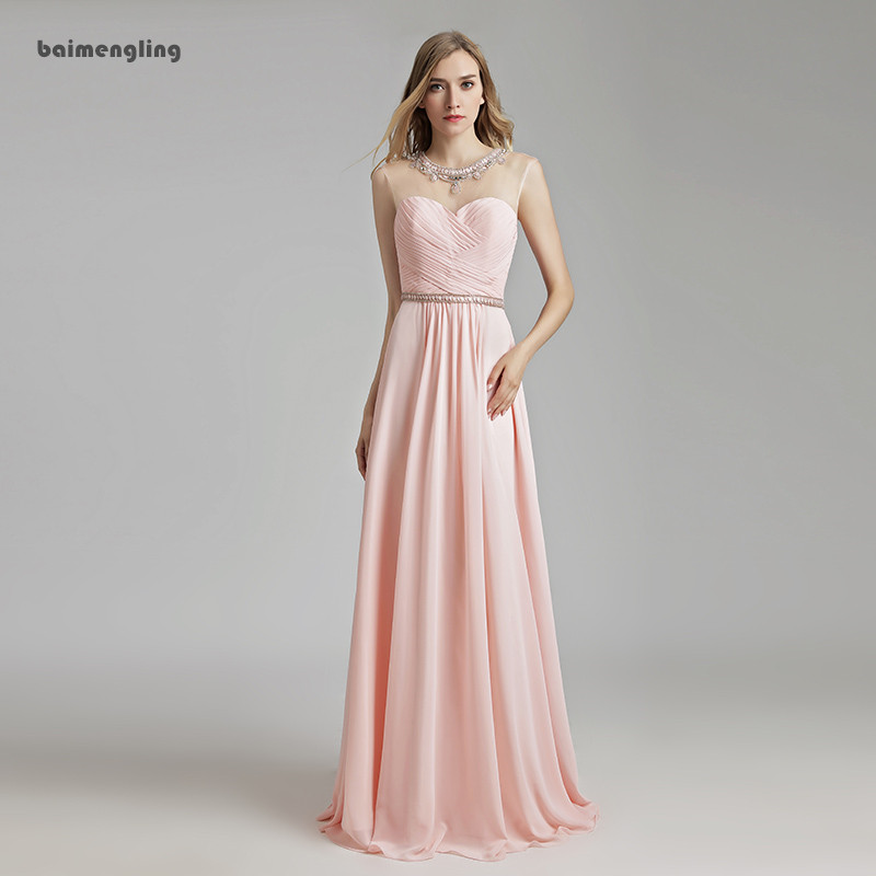 light pink evening dress, simple long cheap chiffon dress