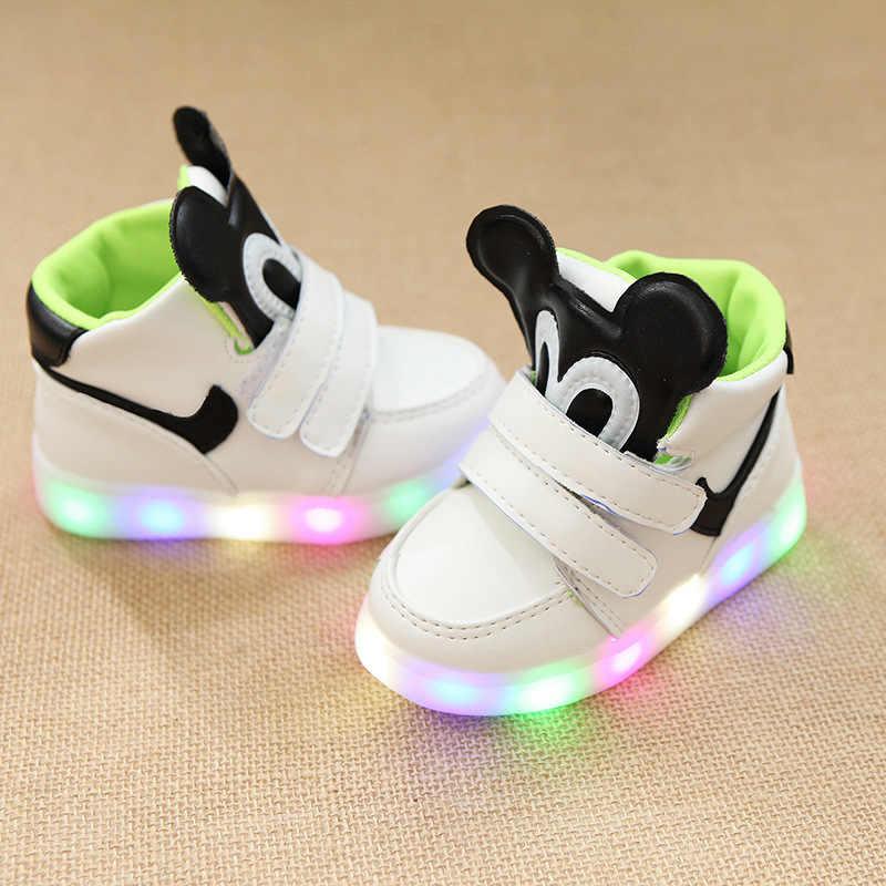 Chirldren של אביב חדש ילדי פנאי Led בנות ספורט נעלי תינוק זוהר מואר נעלי בני זוהר ילדים סניקרס SH19053