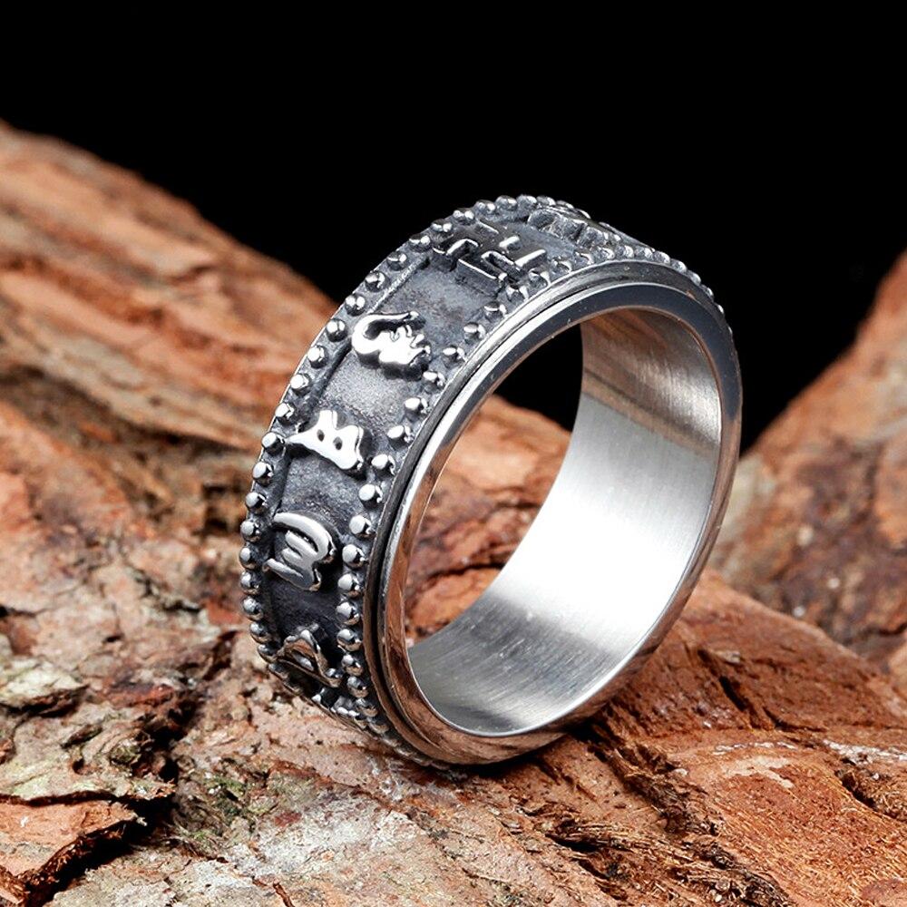 Ретро Браслеты-шармы из нержавеющей стали шесть-персонаж кольцо с мантрой панк Feng Shui Амулет Лаки кольцо для мужчин и женщин, модные ювелирны...