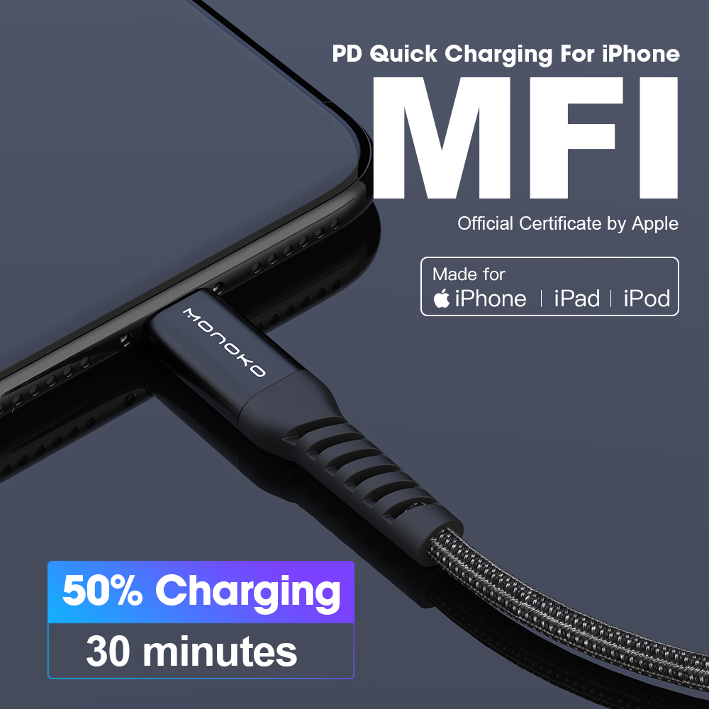 MFi PD Cable Type C for Apple Port 3A Fast Charging Cable For iPhone 11 PD Power Adapter USB C For iPad ipod Mobile Phone Cables     - title=