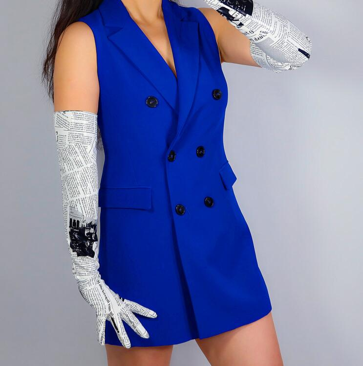 Women's Runway Fashion Sexy Slim Newspaper Print Pu Leather Glove Lady's Club Performance Leather Long  Glove 60cm R2740