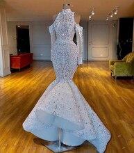 고급스러운 2020 실제 이미지 남아 프리카 두바이 인 어 공주 웨딩 드레스 파란색 된 크리스탈 신부 드레스 긴 소매 웨딩 드레스