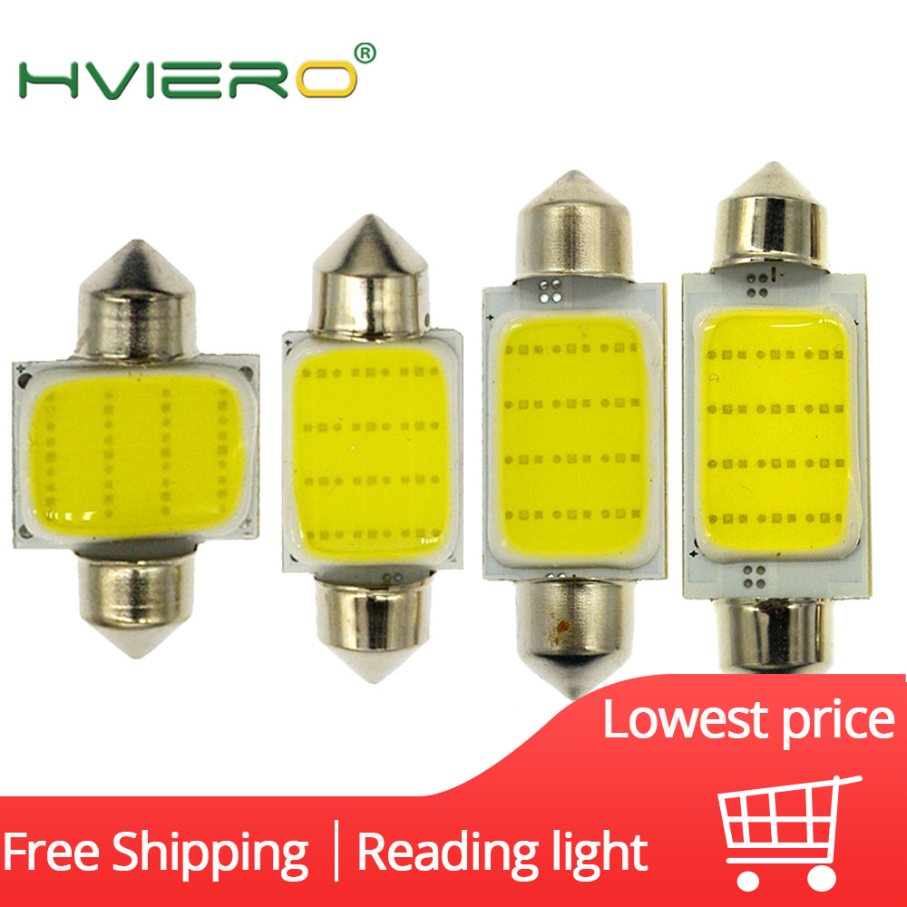 White Cob 12Led Festoon Dome Lights Reading Lamp 31mm 36mm 39mm 42mm C5W C10W Auto Led Door Lights Backup Bulb Tail Bulbs DC 12v