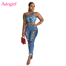купить Adogirl Cartoon Patch Jeans Two Piece Set Spaghetti Straps Crop Top Curled Jeans Pants Women Sexy Night Club Suit Casual Outfits дешево