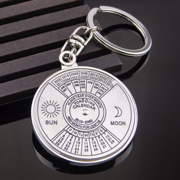 Couleur argent 50 ans Super calendrier perpétuel porte-clés anneaux astrologie porte-clés sac de voiture pendentif porte-clé cadeau bijoux