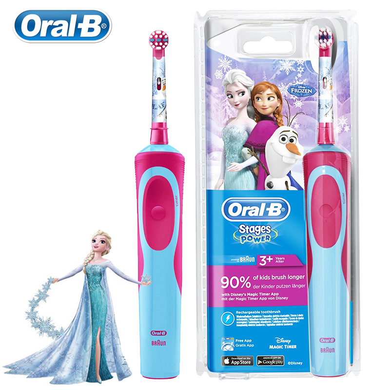 Oral B Children Electric Toothbrush D12513K For Kids Gum Care Inductive Charging Waterproof Soft Bristle EB10 Brush Heads