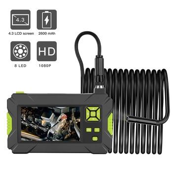 Wifi przemysłowy endoskop 1080P HD 8MM kamera inspekcyjna z wyświetlaczem 4.3 cala na narzędzie do naprawy samochodów sztywny kabel Wifi endoskop w Kamery nadzoru od Bezpieczeństwo i ochrona na
