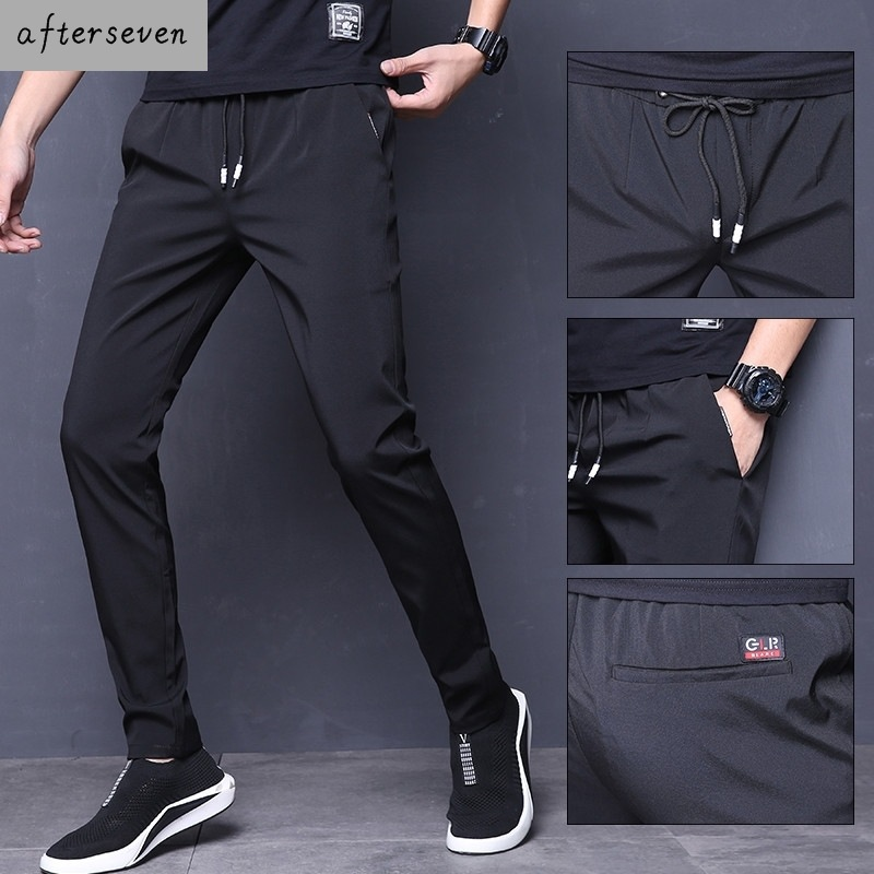 Network Red Ice Tow Feet Kuzi MEN'S Black Summer Drape Air Conditioner Thin Capri Pants 9 Points Xiao Foot Slim Fit Elastic