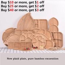 Bandeja creativa para conservar comida fresca, tazones de bambú, platos de madera maciza, bandeja para comida, platos de fruta, placa de madera sólida