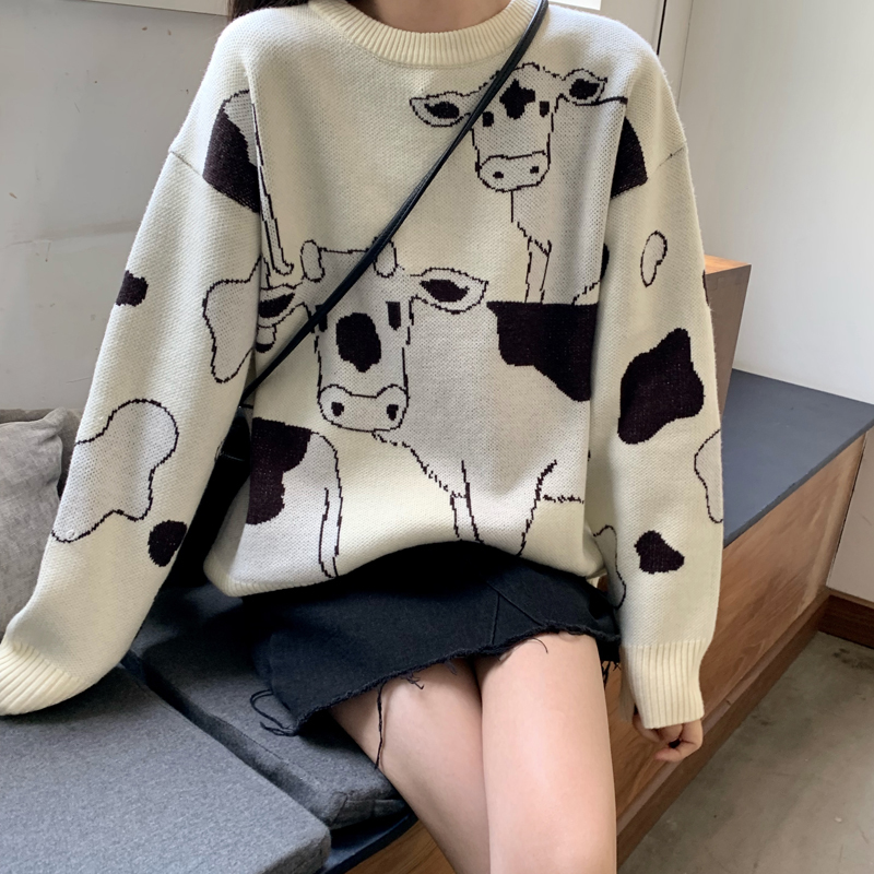 Farm Cows Printed Women White Knitted Sweater Long Sleeve Lazy Style Korean Style Jumper Tops
