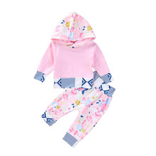 Autumn Baby Girls Long Sleeve Floral Print Hoodie Sweatshirt Tops+Pants Trouser Costume Set