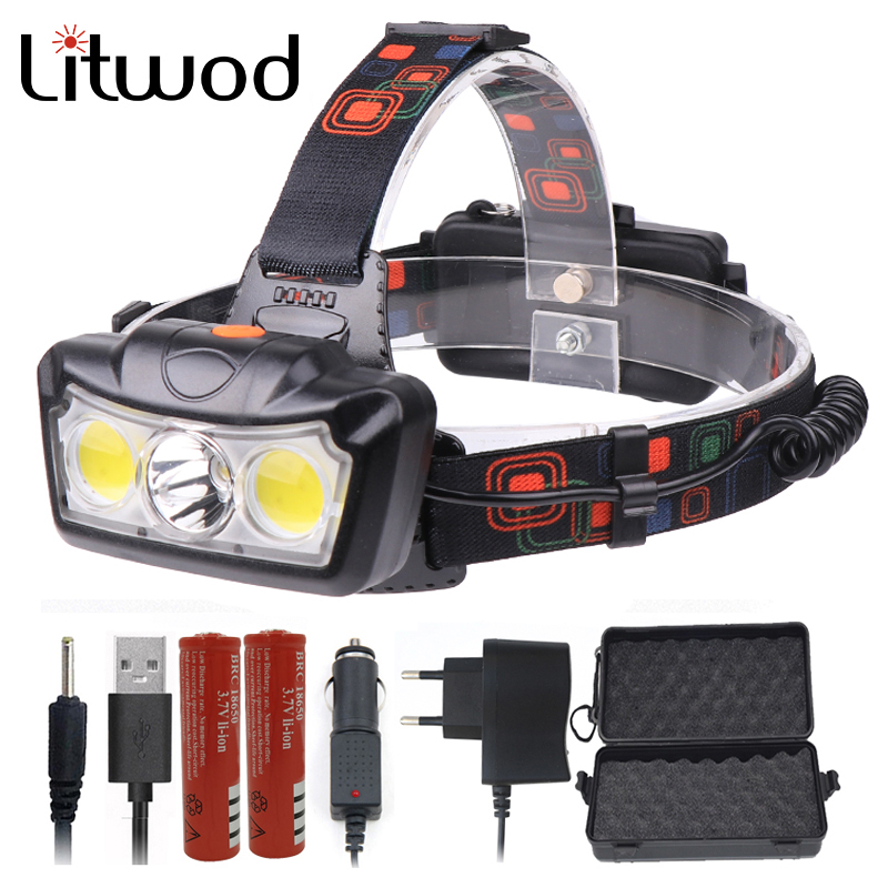 Super Bright LED Headlamp T6+2COB LED Headlight Head Lamp Waterproof Torch Lanterna Head Light Use 2*18650 Battery For Fishing