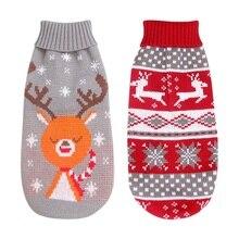 Свитера для собак пальто для собак осенне-зимний свитер куртки для щенков теплые наряды рождественское платье с лосем для маленьких и средних