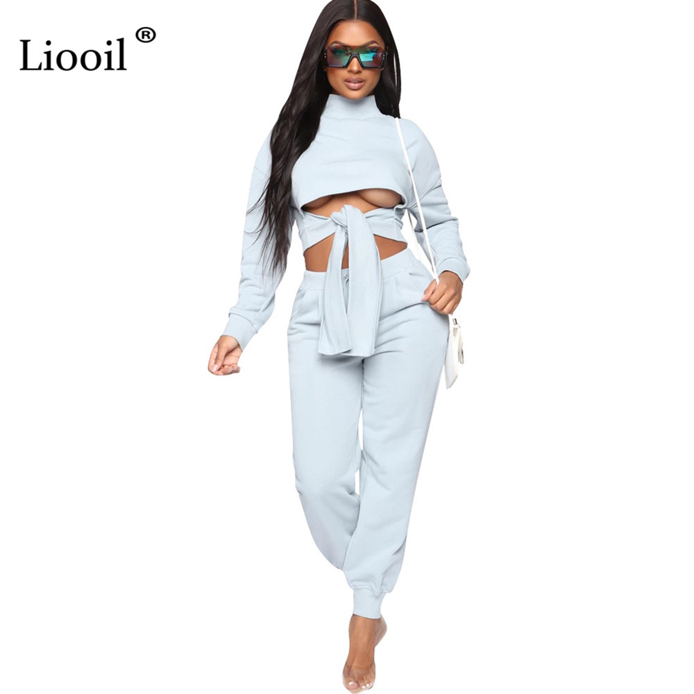 Liooil Womens Black Tracksuit Two Piece Outfits Set Top And Sweatpants Long Sleeve Turtleneck Lace-Up Sweatsuits Jogging Sets