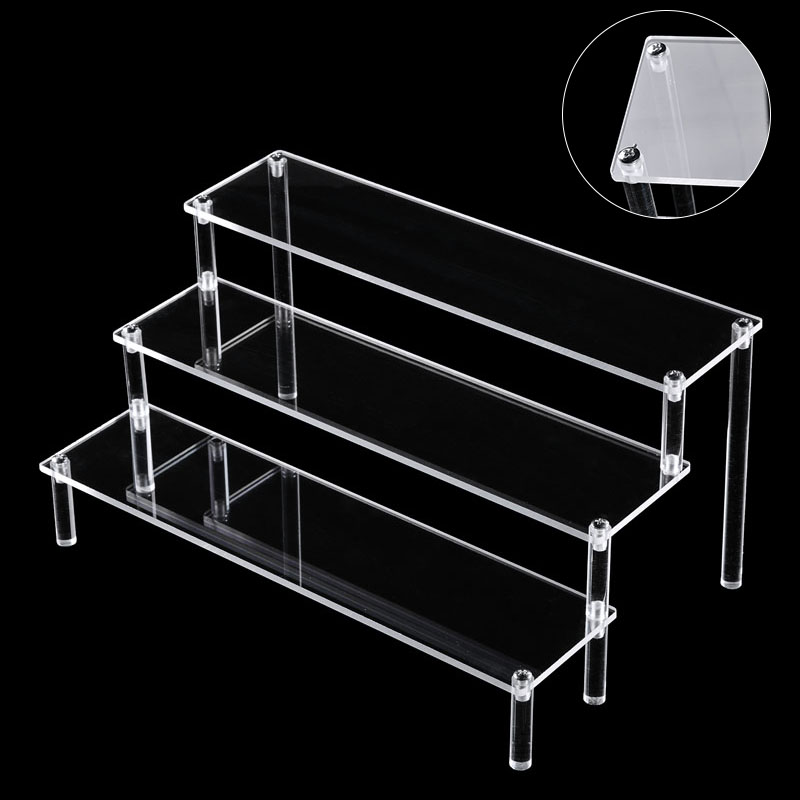 Clear Acrylic Three Stair Craft Display Stand Story Doll Jewelry Cosmetics Display Stand Rack With Screwdriver