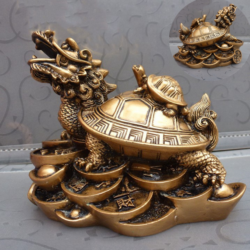 Resin Feng Shui Dragon Turtle Tortoise Statue Figurine Lucky Chinese Feng Shui Money Wealth Ornaments For Home Office JCX9358