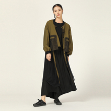 [EAM] Women Mesh Spliced Hollow Out Trench New Stand Long Sleeve Loose Fit Windbreaker Fashion Tide Autumn Winter 2019 1A712