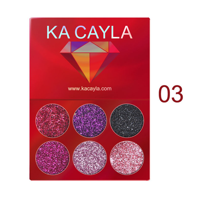 6 Colors Glitter Eyeshadow Palette Diamond Glitter Metallic Pigment Waterproof Long-lasting Eye Shadow Kit Makeup Palette TSLM1 3