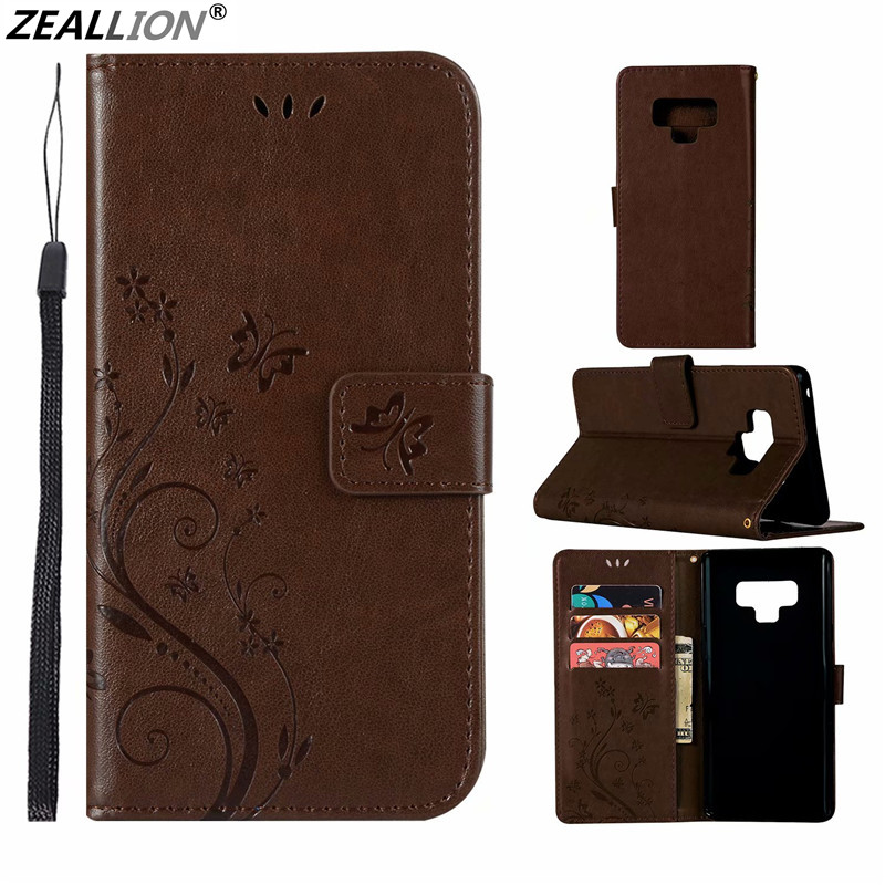 Zeallion For <font><b>Samsung</b></font> Galaxy M30 <font><b>M20</b></font> M10 A10 A20 A30 Note 10 Pro Book Wallet <font><b>Case</b></font> Flower Butterfly Magnetic Holster <font><b>Flip</b></font> Leather image