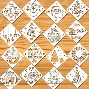 16 упаковок рождественские трафареты шаблоны рождественские трафареты для альбомов поздравительных открыток многоразовый пластиковый шаб...