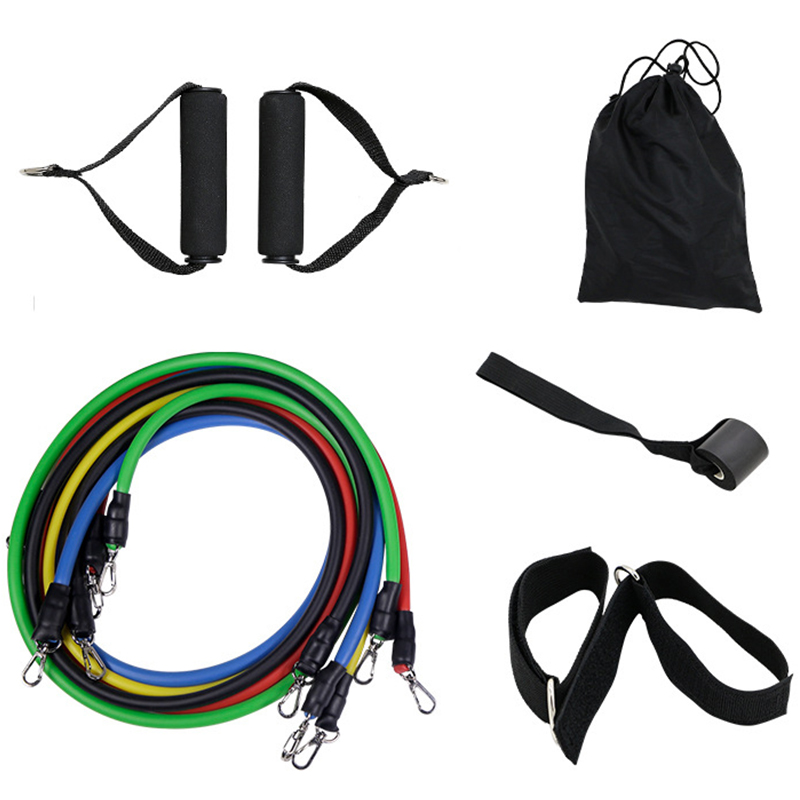 11Pcs/Set Resistance Bands Yoga Fitness Rubber Tubes Expander Band Stretch Training Home Gyms Exercise Workout Elastic Pull Rope(China)
