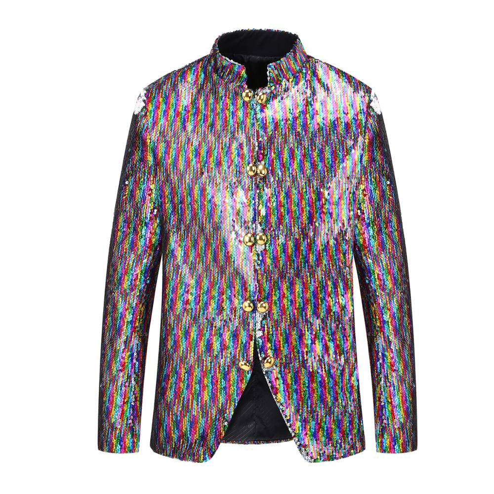 PYJTRL Men Double Breasted Colorized Stand Collar Double-sided Sequins Changing Colors Blazer Clothes DJ Singer Suit Jacket