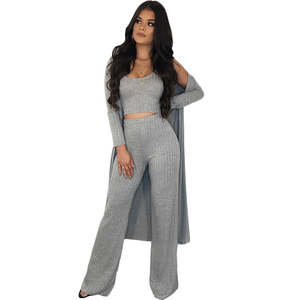 Image 3 - Women 3 Pieces Set 2019 Autumn Winter Outfits Solid Ribbed Knit Full Sleeve Long Cardigan Coat Cropped Tank Top Casual Pants 3XL