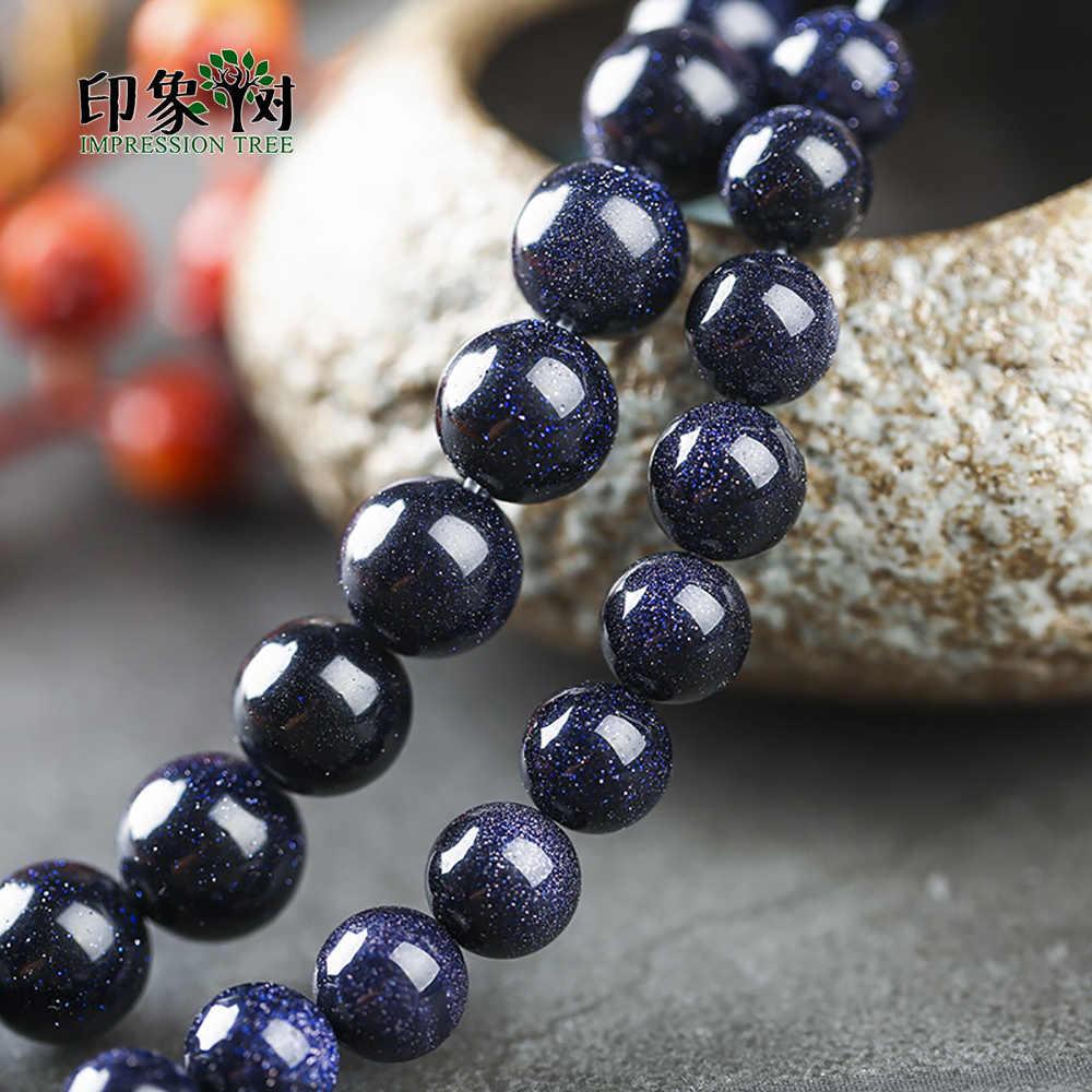 1 pc natural azul escuro areia pedra grânulos redondos lisos soltos 4/6/8/10/12mm escolher tamanho colar apto diy para fazer jóias 1891