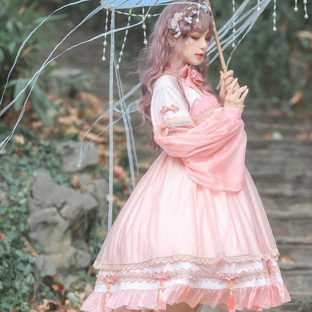 Фото платье в стиле лолиты han element кружевное платье с квадратным