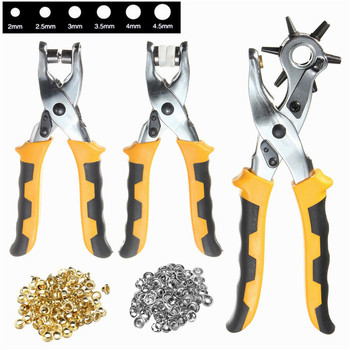 3 in1 Leather Belt Hole Punch+ Eyelet Plier +Snap Button Grommet Setter Tool Kit Round 2.5/3/3.5/4/4.5/5mm Punching Tool Set