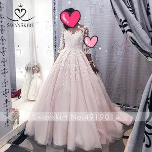 Image 5 - Swanskirt מתוקה אפליקציות שמלות כלה בציר 3D פרחי כדור שמלת משפט רכבת נסיכת כלה שמלת Vestido דה Noiva K192