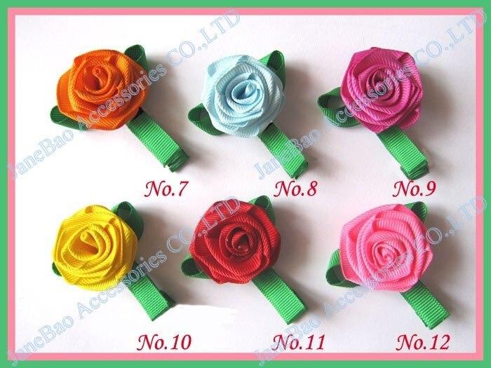 100 шт, бант для волос для девочек, заколки для волос с цветком розы, разные цвета, скульптура, клиппи, персонажи, бант для волос на День святого Валентина