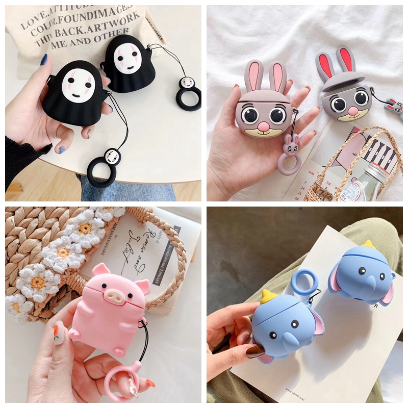 For AirPods Case Cute Cartoon Rabbit Pig Dumbo Earphone Case For Apple Airpods 2 Cover Soft Protect Coque with Finger Ring Strap-in Earphone Accessories from Consumer Electronics