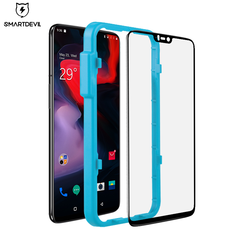 SmartDevl Tempered Glass For One Plus 6 5 7 Screen Protector Film Black Protective Guard Original For Oneplus 6T Tempered Glass