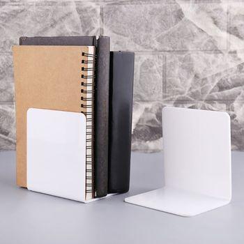 2 sztuk biały akryl Bookends w kształcie litery L Organizer na biurko pulpit stojak na książkę szkoła papiernicze akcesoria biurowe WXTA tanie i dobre opinie OOTDTY WXTA5AC1101322-M Metal