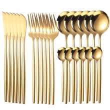 Stainless Steel Dinnerware Sets 4/16/24 Pcs/Set Knife Fork Spoon Luxury Cutlery Set Gift Box Flatware Tableware Spoon Dinner Set