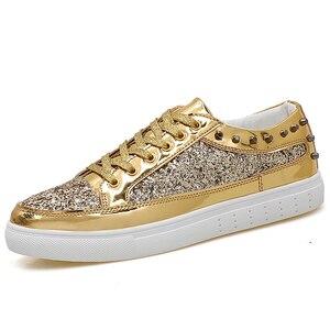 Zapatillas de patinaje para hombre, zapatos de marca de otoño 2019, zapatos deportivos atléticos para hombre, geniales zapatillas de deporte con volante dorado plateado brillante