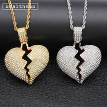 Solid Broken Heart Iced Out Bling Chain Pendant Charm Neckalce For Men Women Gold Silver Rhinestone Necklaces Hip Hop Jewelry(China)