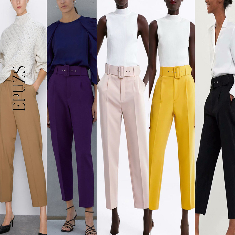 Winter Elegant Office Black Pants Women Sashes Pockets Zipper Fly High Waist Pants Streetwear Cargo Pants Casual Pencil Trousers