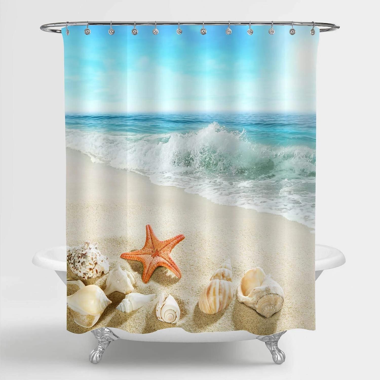 ocean wave coastal beach shower curtain starfish seashell and conch marine life on seashore sand tropical seascape bathroom