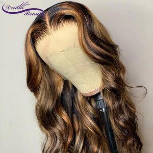 Image 5 - 13x6 Tiefe teil Spitze Front Menschliches Haar Perücken 180% Dichte Brasilianer Remy Wellenförmige Menschenhaar Pre Gezupft haaransatz Traum Schönheit
