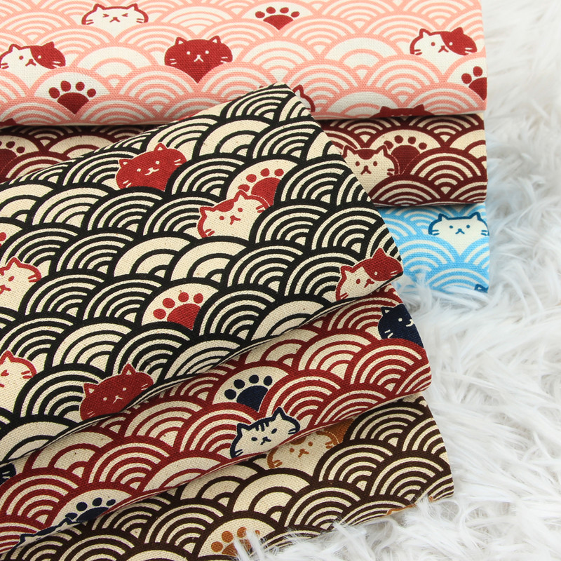 Tela de algodón gruesa de media yarda, estampado suave curvo de gato breeze, tela de bolsa DIY hecha a mano, material 100% CR-389 de algodón