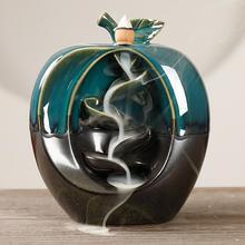 Ретро стиль формы яблоки керамический обратный поток конус благовония горелки домашнее ремесло орнамент настольные фигурки миниатюры украшение дома