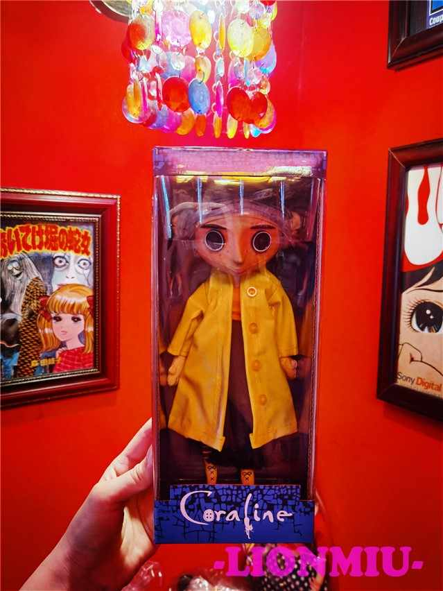 Neca Children S Toys Coraline The Secret Door Dolls Coraline Figure Button Eyes Girl Collectible Model Toy Gifts Coates Crafts Coat Businesscoated Electrode Aliexpress