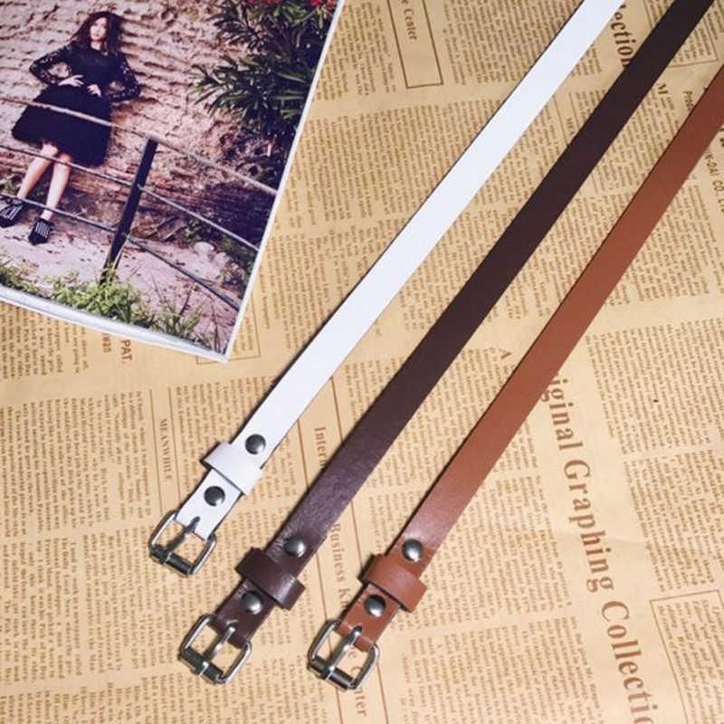 Fashion Japanese Buckle Female Belt PU Leather  Decorative Thin Camel Women Solid Color Tights WaistbandW