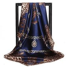 Bufandas mujer estampado Twil pelo cuello 90cm cuadrado bufanda de seda Oficina señoras chal Bandana, hiyab musulmán pañuelo foulard silenciador