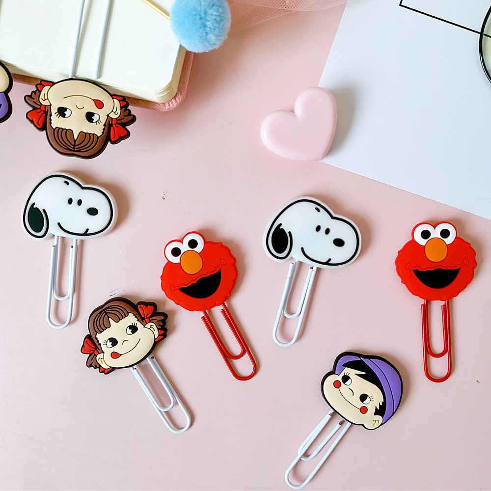 New 10pcs/lot Cartoon Kawaii Sesame Street Dog Milk Girl Paper Clip Cute Avocado Pig Metal Bookmark Decorative Clips Stationery